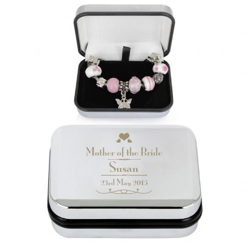 Personalised Decorative Wedding Mother of the Bride Silver Box and Pink 21cm Charm Bracelet